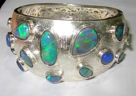 """Opal Cuff Bracelet by <a href=""""http://www.grahamblackopal.com"""" target=""""_blank"""">Graham Black Opal Jewelry</a>"""