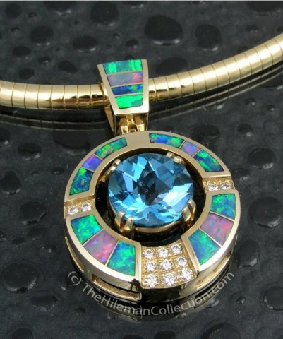 Australian Opal Pendant with Blue Topaz and Diamonds by jewelry Designer, Mark McBride Hileman