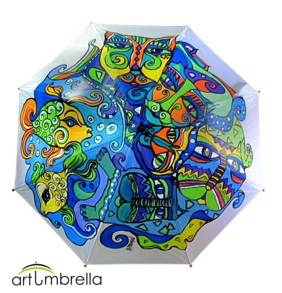 Cats & Animals Hand Painted Umbrella - ArtUmbrella