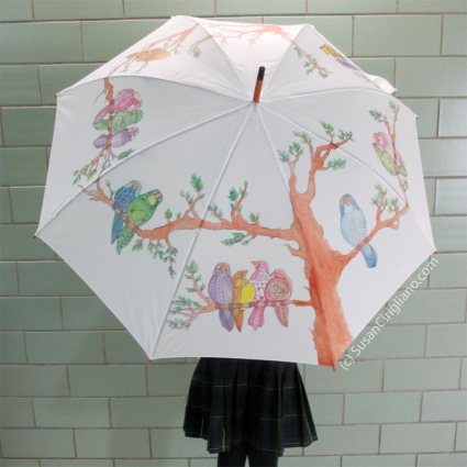 Hand Painted Birds Umbrella by Susan Cirigliano