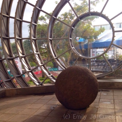 An ancient stone sphere in in San José, Costa Rica (Photo by Emily Jo Cureton)