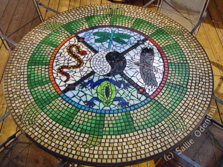 Mosaic Medicine Wheel Table by Sallie Odenthal