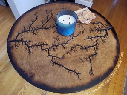Lichtenberg Round Table Top by Weird Wooden Works