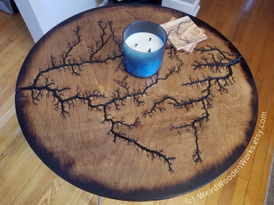 Lichtenberg Round Table Top by Weird Wooden Works