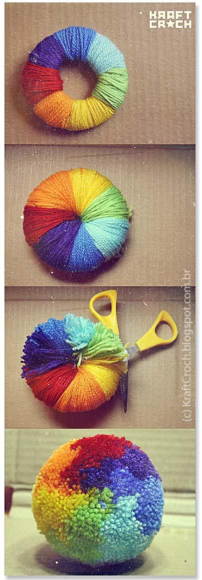 Rainbow Pom Pom by KraftCroch.blogspot.com.br