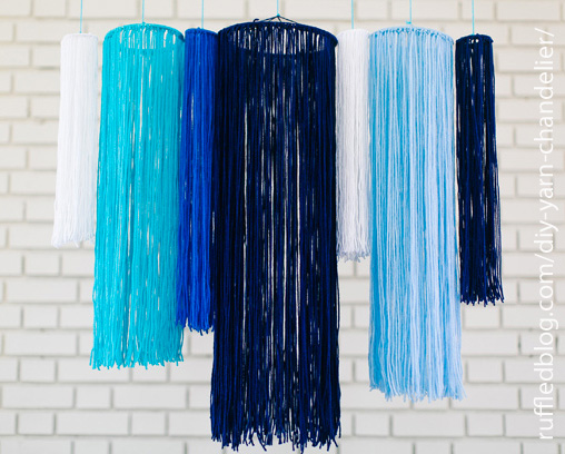 Yarn Chandelier - source: RuffledBlog.com/diy-yarn-chandelier/