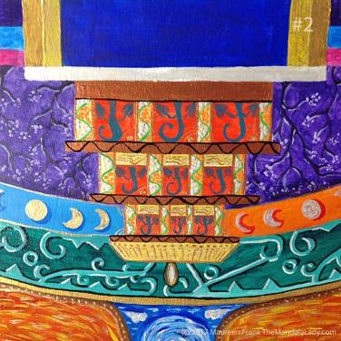 "Archange #1 Mandala: 02 - add black wavy lines on copper ""beams"""