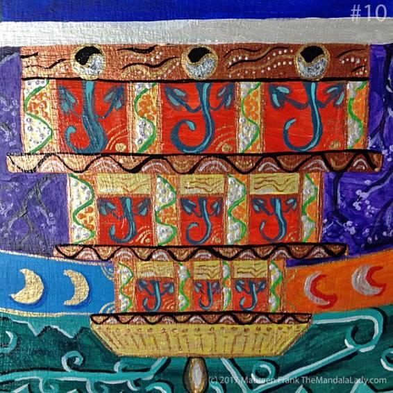 Archangel #1 Mandala: 10 - add lt teal highlights to vegetation in bottom temple