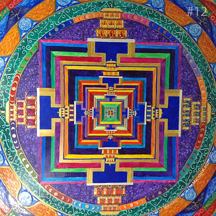 Archangel #1 Mandala: 12 - Overall view of the outer temples within the circle