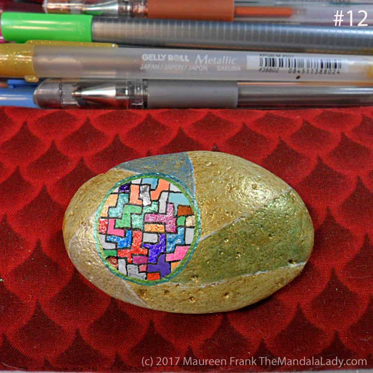 Remarkable: 12 - outline mandala with two shades of metallic green