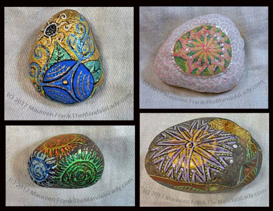 Four Mandala Meditation Stones