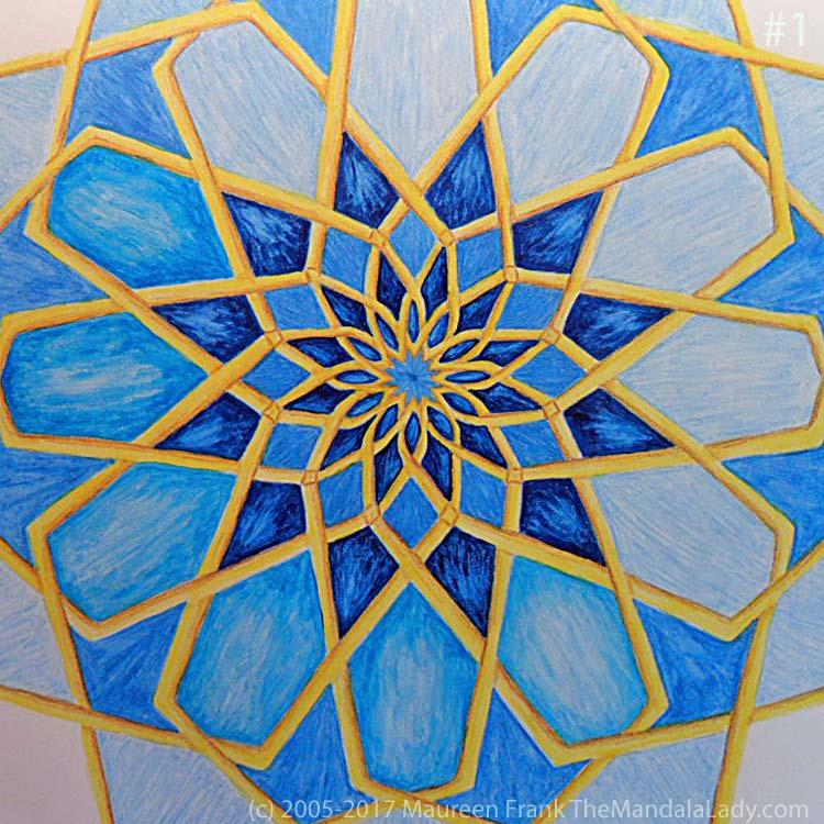 Mosaic Mandala Day 2: 1 - add shadows and dimension to round 5 (half done)