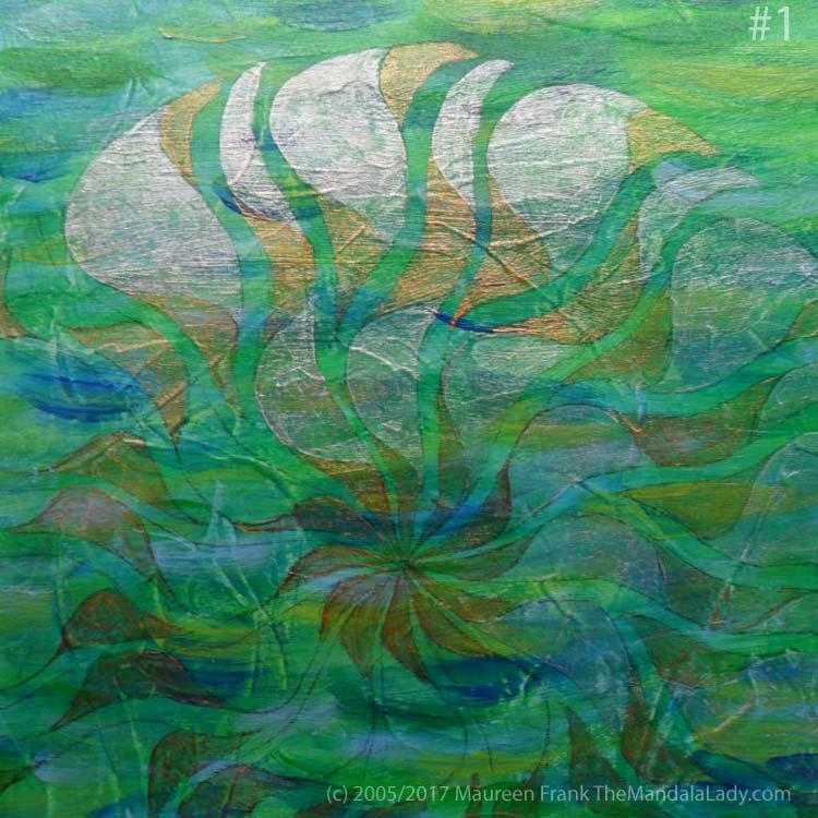 Breezy Mandala - Day 3: #1 - add iridescent pearl to half of Breezy