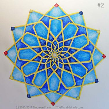 Mosaic Mandala Day 3: 2 - add shadows to round 8