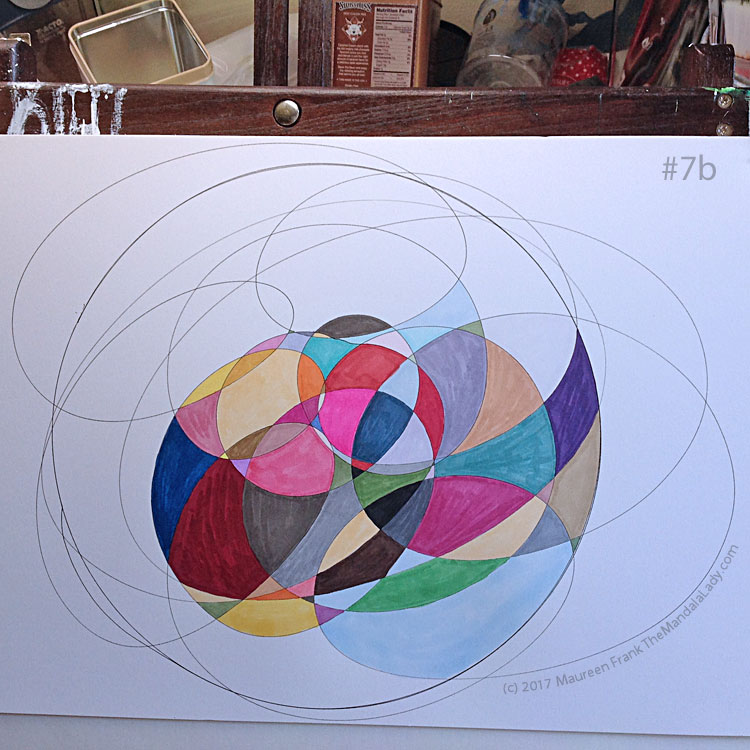 My Journey Mandala Day 1: 7b - full view of my progress for today