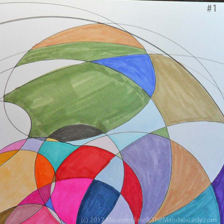 My Journey Mandala Day 2: 1 continue coloring in each section using markers