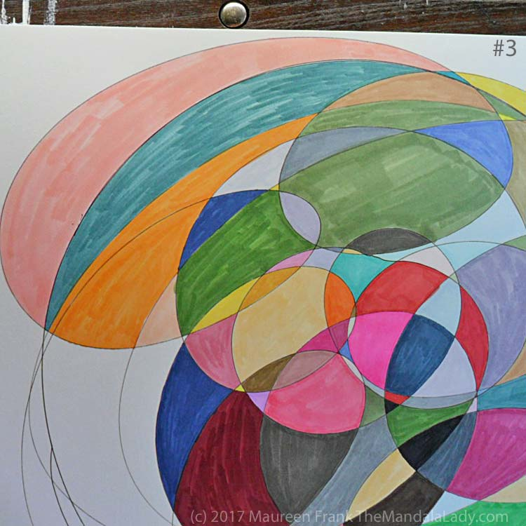 My Journey Mandala Day 2: 3 continue coloring in each section using markers