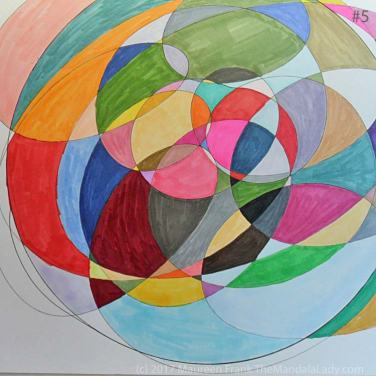 My Journey Mandala Day 2: 5 continue coloring in each section using markers