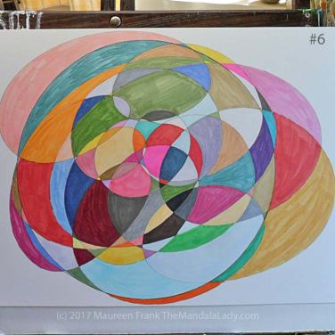 My Journey Mandala Day 2: 6 finish coloring in remaining sections using markers
