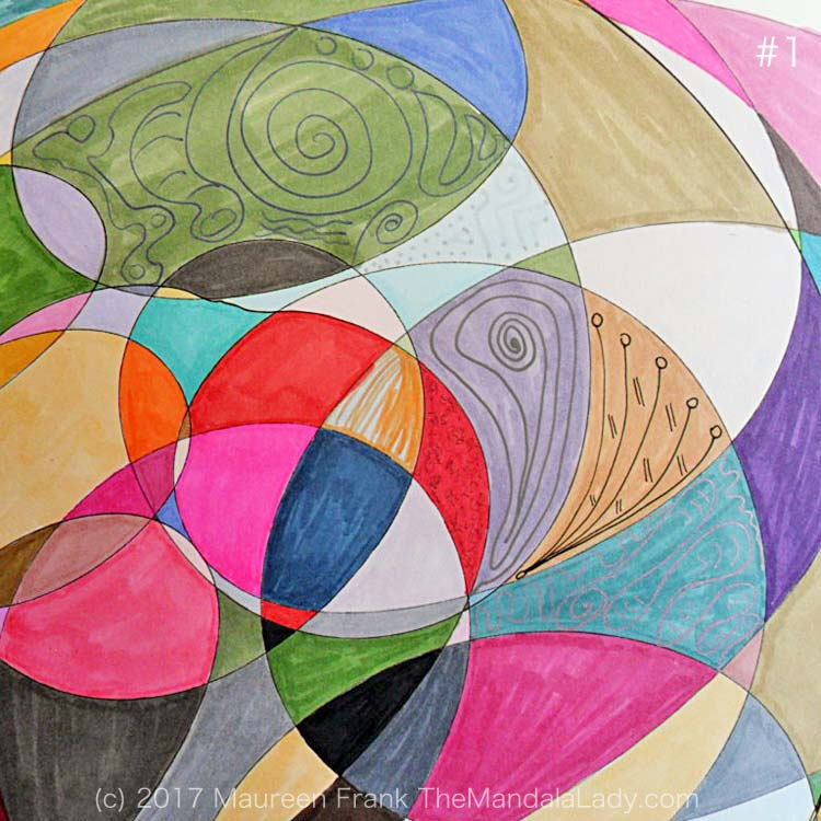 My Journey Mandala Day 3: 1 - randomly start adding gel pen patterns to sections