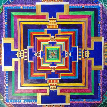 Archangel #1 Mandala Update 3: 6 - full view of painting progress in blue band