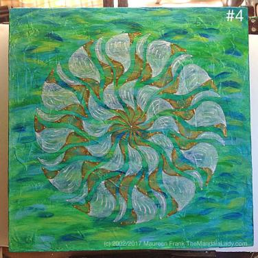 "Breezy Mandala - Day 5: 4 - add a mix of zinc white and iridescent pearl to outer ""white"" sections"