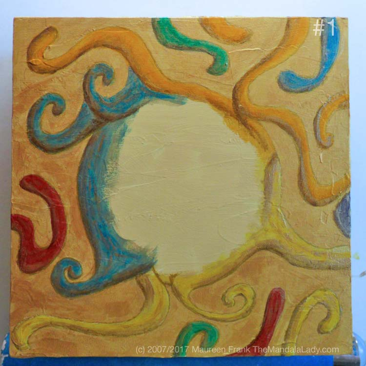 Night Crawlers Mandala - update 4: 1 - add gold contour lines around crawlers on panel