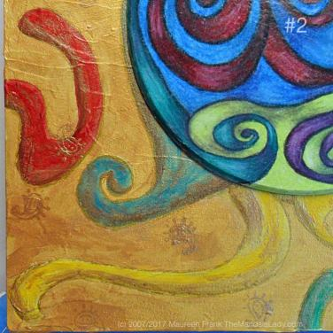 Night Crawlers Mandala - update 4: 2 - gold stamp little spirals on background