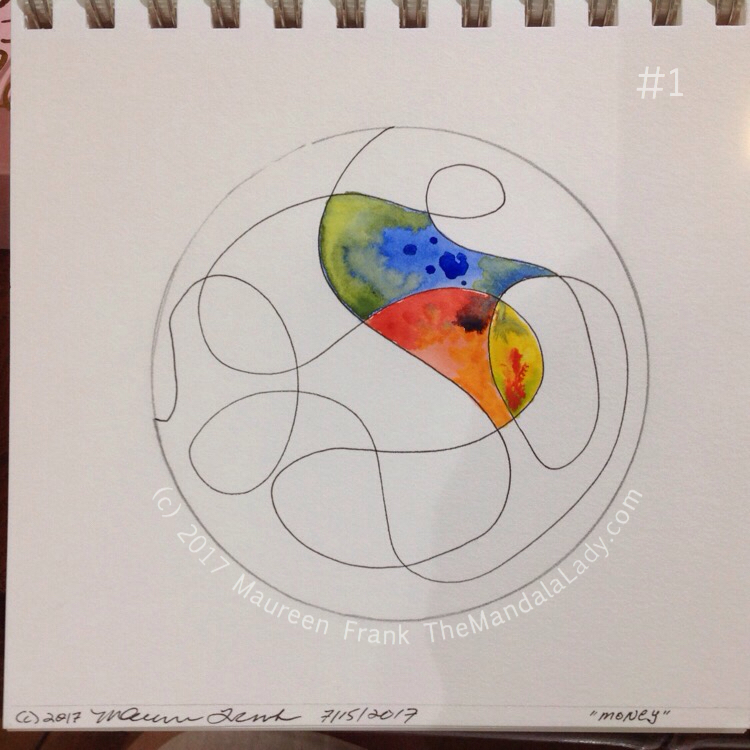 """Money Mandala: 1 - draw out money """"doodle"""" and start painting"""