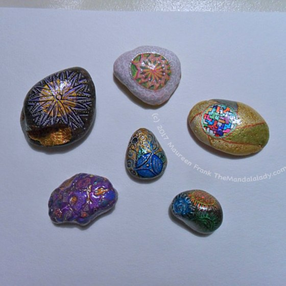 Mandala Meditation Stones: add coats of varnish to recently painted stones