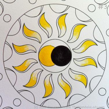 The Eclipse Version 2: 3 - paint the sun and sun's rays with primary yellow and zinc white
