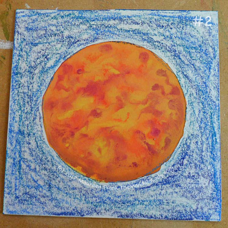 Orange Mandala: 2 - dry coloring with watercolor sticks (blue, teal, light blue)