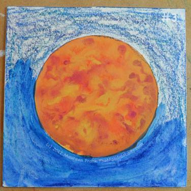 Orange Mandala: 3 - start adding water