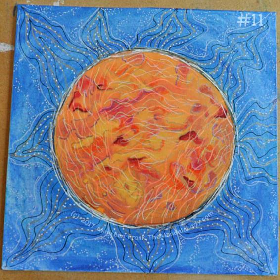 Orange Mandala: 11 - add orange, yellow, and white wavy lines in the orange