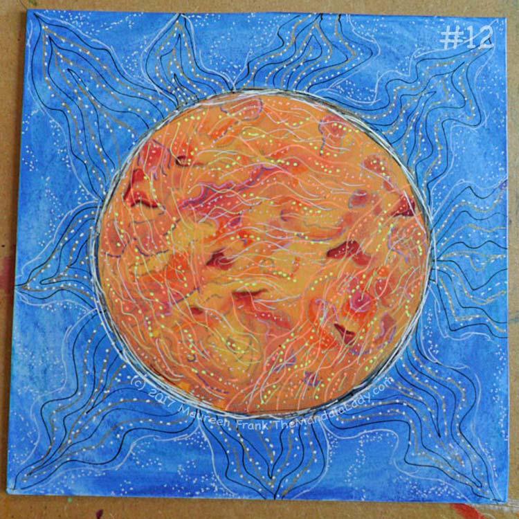 Orange Mandala: 12 - finish off with adding orange, yellow, and white wavy dots in the orange