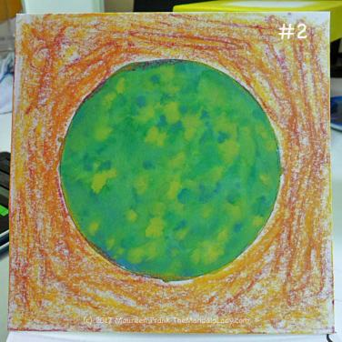 A Whole New World: 2 - dry watercolor sticks: magenta and yellow
