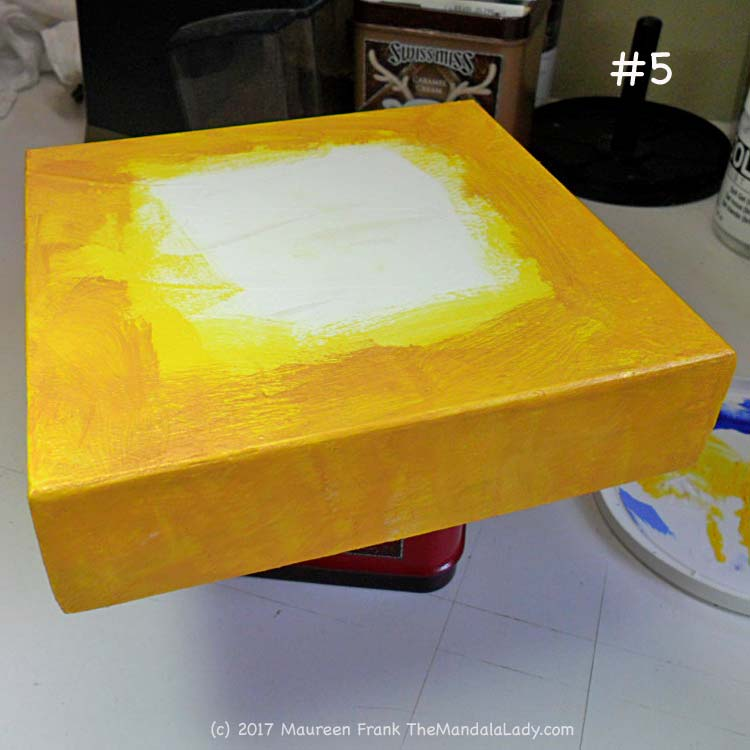 A Whole New World: 5 - while waiting for paint to dry, prep wood panel with yellow and iridescent gold