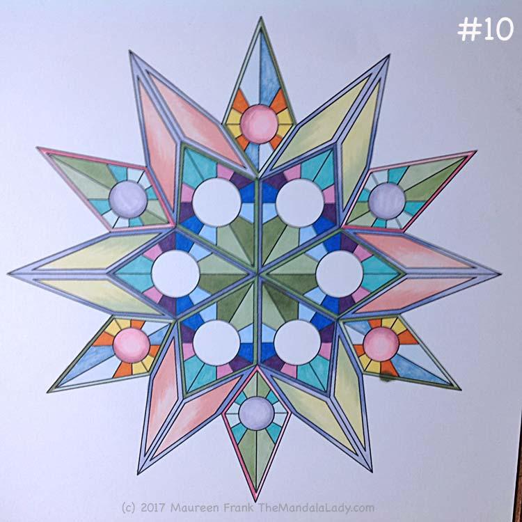 Soulscape Day 4: 10 - add dark green trim to other 3 center diamonds