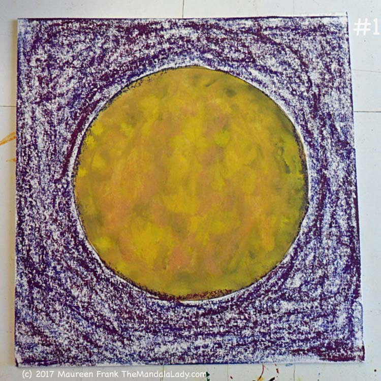 Yellow/Purple Day 1: 1 - the yellow center previously done, add 3 dry watercolor colors: 2 purples, 1 blue