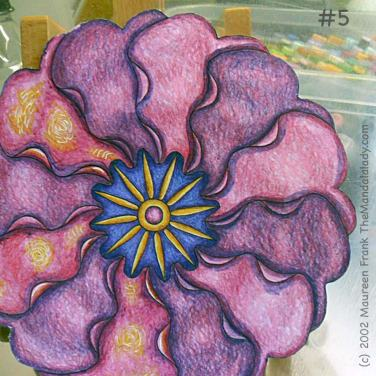 Primrose #2 Day 1: 5 - add blue shading to pink petals on right