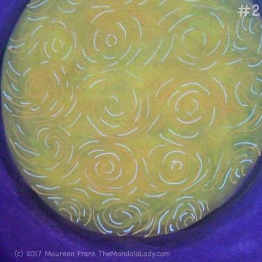 Yellow Purple Mandala Day 2: 2 - add white swirls on yellow orb