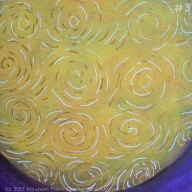Yellow Purple Mandala Day 2: 3 - add copper swirls on yellow orb