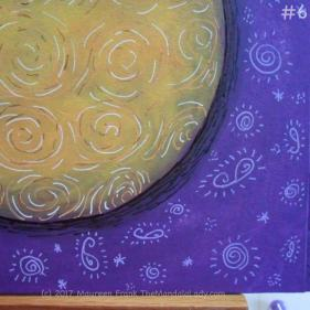 "Yellow Purple Mandala Day 2: 6 - close up view of light purple ""doodles"""
