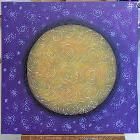Yellow Purple Mandala Day 2: 7 - Full view of today's progress - this phase done
