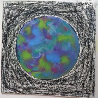 Cosmic Spirals: 2 - dry color with dark red, dark green, and dark blue w/c sticks