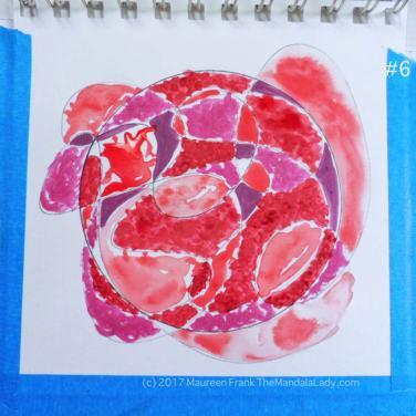 mandala of the day - fat - doodle mandala red magenta purple