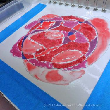 mandala of the day - fat - doodle mandala red magenta purple blue violet watercolor paper