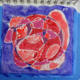 mandala of the day - fat - doodle mandala red magenta purple blue violet watercolor paper