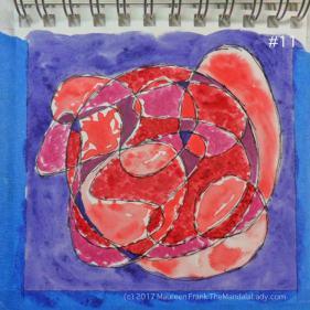mandala of the day - fat - doodle mandala red magenta purple blue violet watercolor paper pen & ink