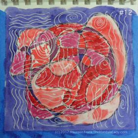 mandala of the day - fat - doodle mandala red magenta purple blue violet watercolor paper white gel pen